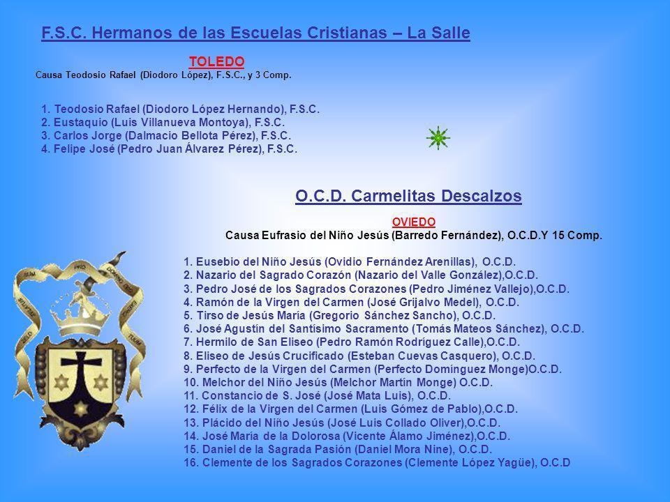 O.P.Orden de Predicadores - Dominicos OVIEDO Causa Celestino José Alonso Villar, O.P., y 9 Comp.