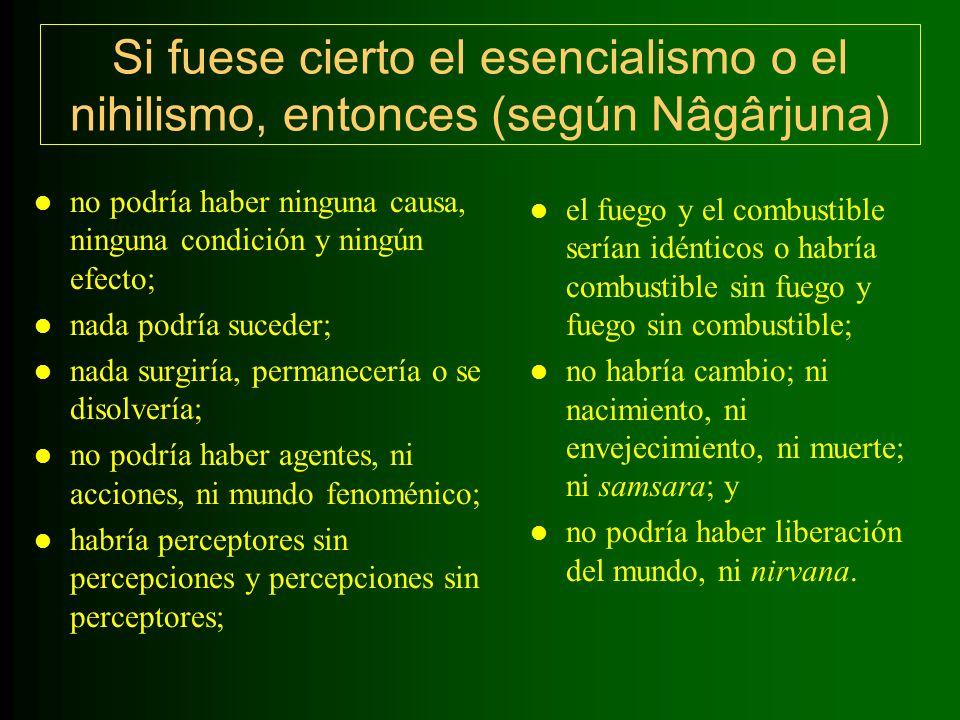 A través del método de la crítica dialéctica, Nâgârjuna desafía las suposiciones esencialistas y nihilistas, intentando demostrar a través del análisis lógico riguroso que ambas visiones se contradicen a si mismas, son absurdas y falsas.