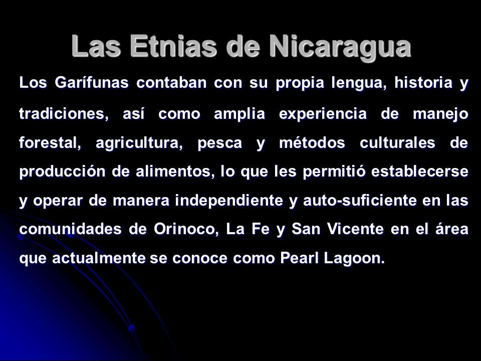 Las Etnias de Nicaragua Los Garífunas contaban con su propia lengua, historia y tradiciones, así como amplia experiencia de manejo forestal, agricultu