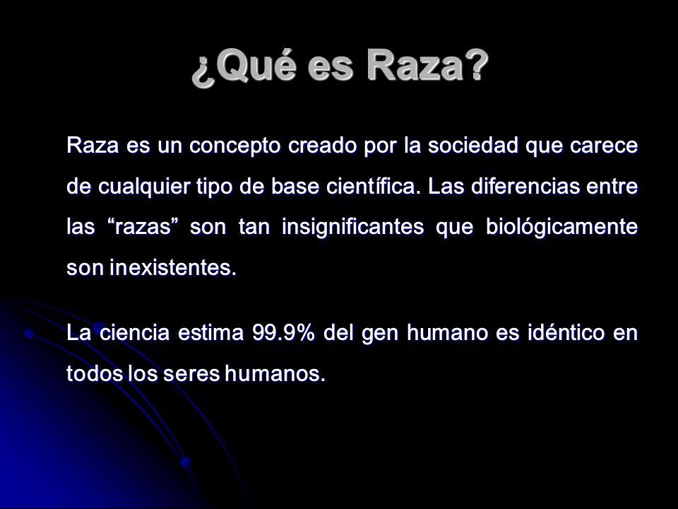 ¿Qué es Raza? Raza es un concepto creado por la sociedad que carece de cualquier tipo de base científica. Las diferencias entre las razas son tan insi