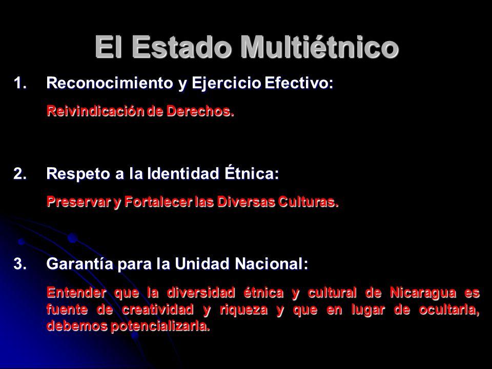 El Estado Multiétnico 1.Reconocimiento y Ejercicio Efectivo: Reivindicación de Derechos. 2.Respeto a la Identidad Étnica: Preservar y Fortalecer las D