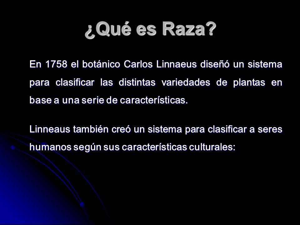 ¿Qué es Raza? En 1758 el botánico Carlos Linnaeus diseñó un sistema para clasificar las distintas variedades de plantas en base a una serie de caracte