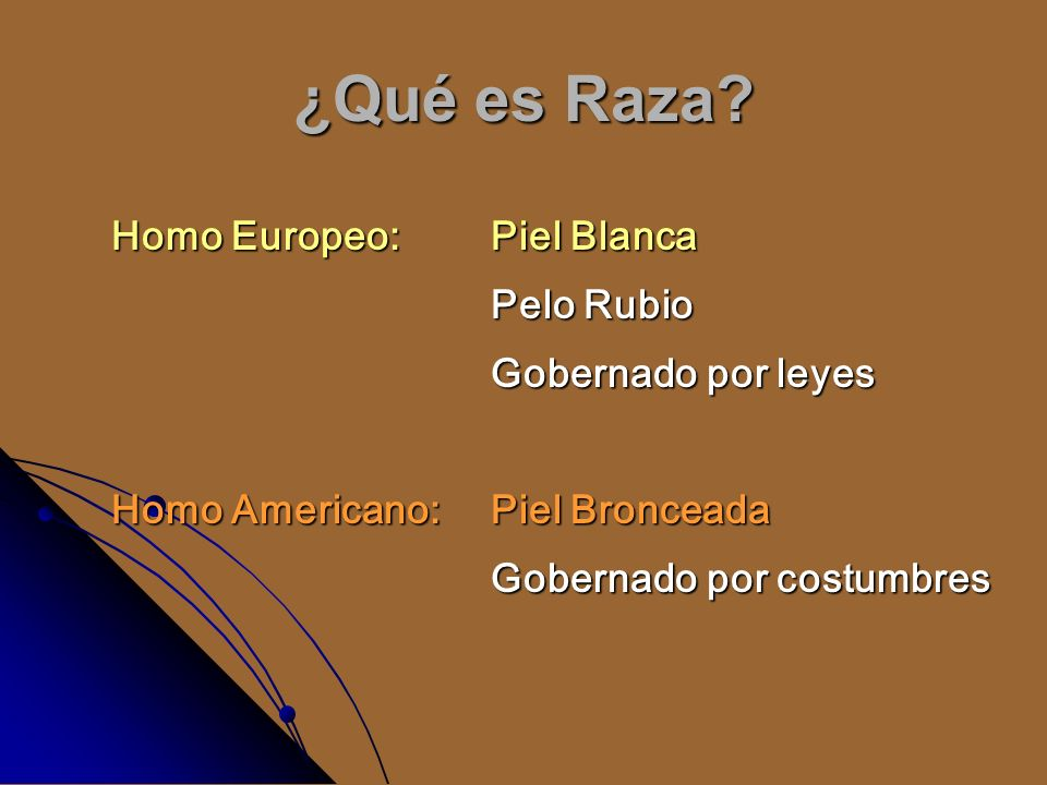 ¿Qué es Raza? Homo Europeo:Piel Blanca Pelo Rubio Gobernado por leyes Homo Americano: Piel Bronceada Gobernado por costumbres