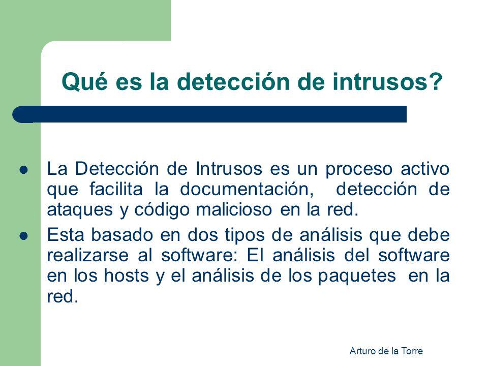 Arturo de la Torre Qué es la detección de intrusos? La Detección de Intrusos es un proceso activo que facilita la documentación, detección de ataques