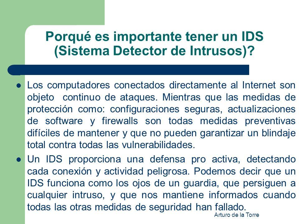 Arturo de la Torre Porqué es importante tener un IDS (Sistema Detector de Intrusos)? Los computadores conectados directamente al Internet son objeto c