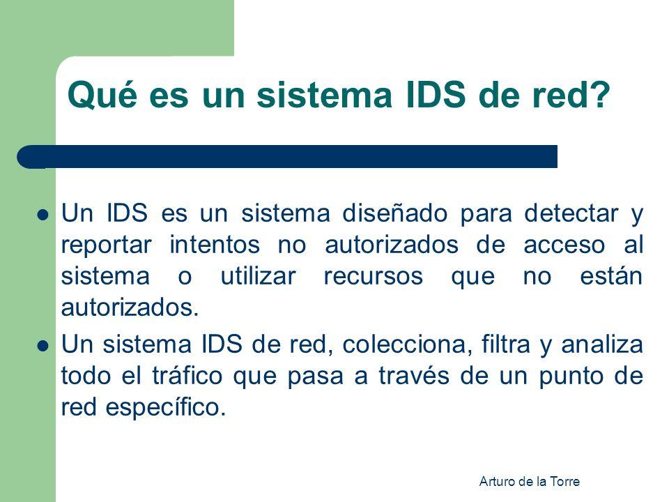 Arturo de la Torre Qué es un sistema IDS de red? Un IDS es un sistema diseñado para detectar y reportar intentos no autorizados de acceso al sistema o