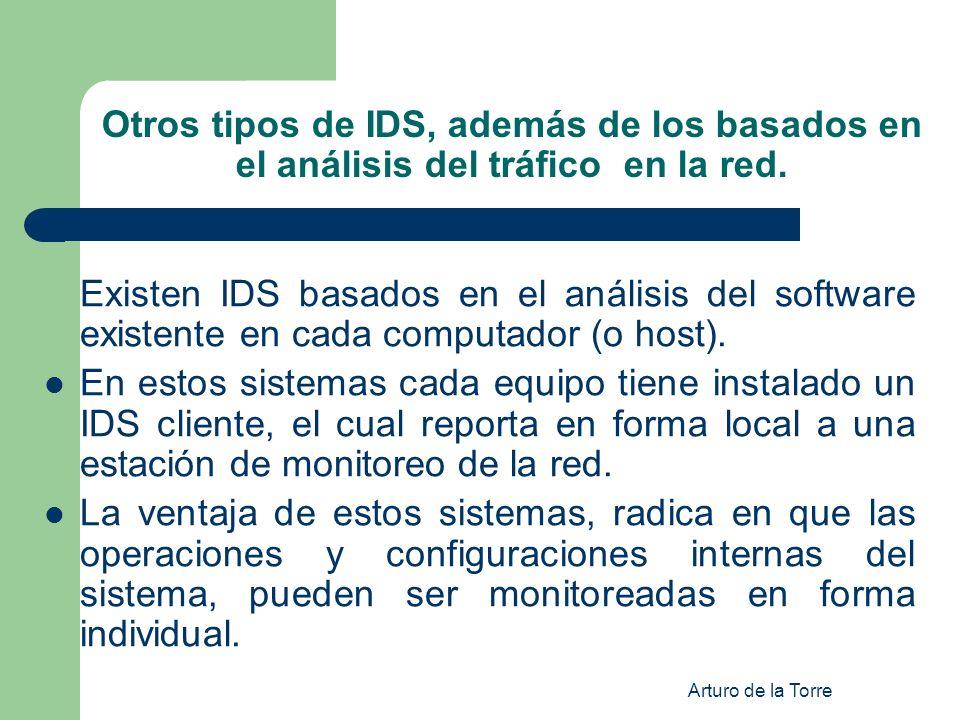 Arturo de la Torre Otros tipos de IDS, además de los basados en el análisis del tráfico en la red. Existen IDS basados en el análisis del software exi