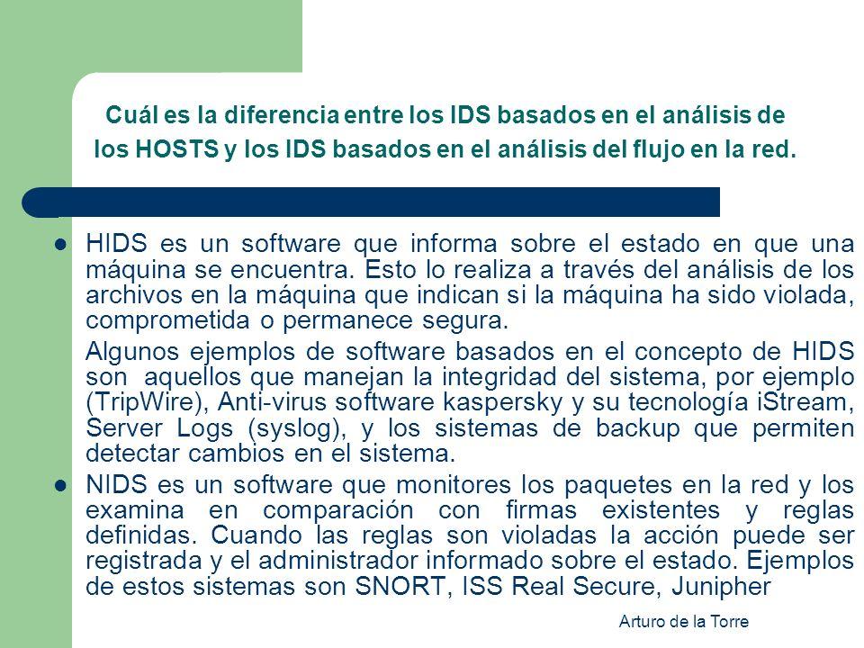 Arturo de la Torre Cuál es la diferencia entre los IDS basados en el análisis de los HOSTS y los IDS basados en el análisis del flujo en la red. HIDS