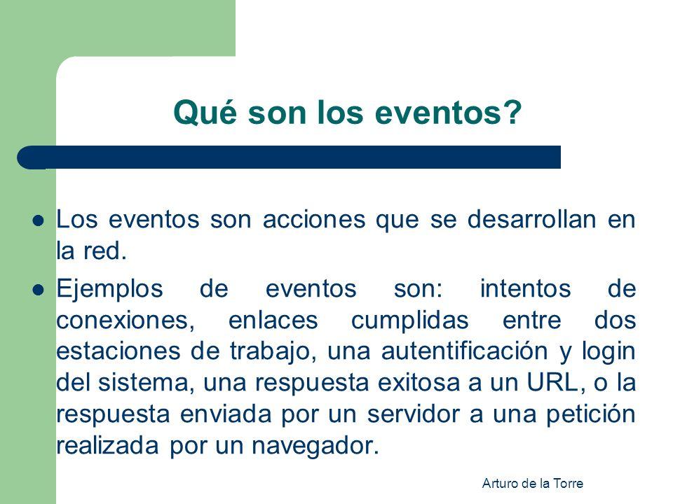 Arturo de la Torre Qué son los eventos? Los eventos son acciones que se desarrollan en la red. Ejemplos de eventos son: intentos de conexiones, enlace
