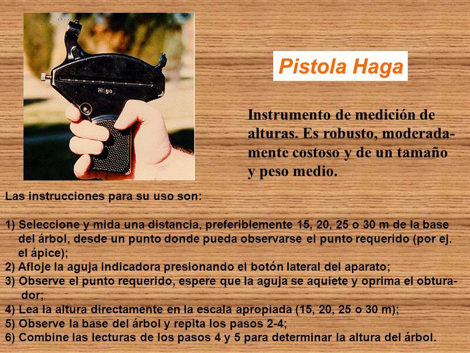 Pistola Haga Instrumento de medición de alturas. Es robusto, moderada- mente costoso y de un tamaño y peso medio. Las instrucciones para su uso son: 1