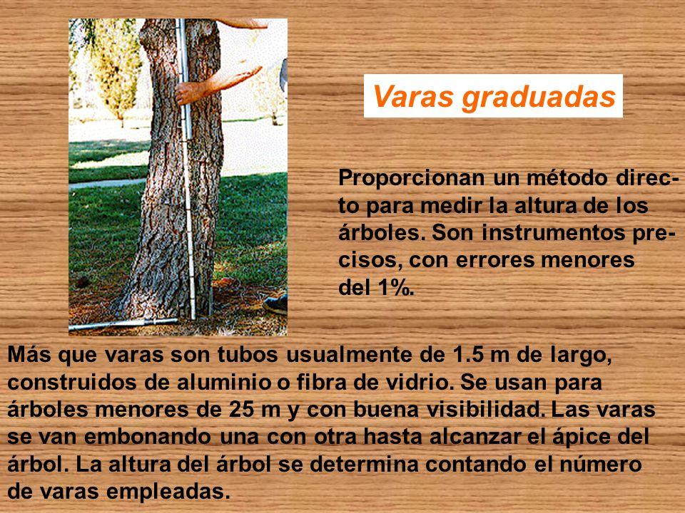 Varas graduadas Más que varas son tubos usualmente de 1.5 m de largo, construidos de aluminio o fibra de vidrio. Se usan para árboles menores de 25 m