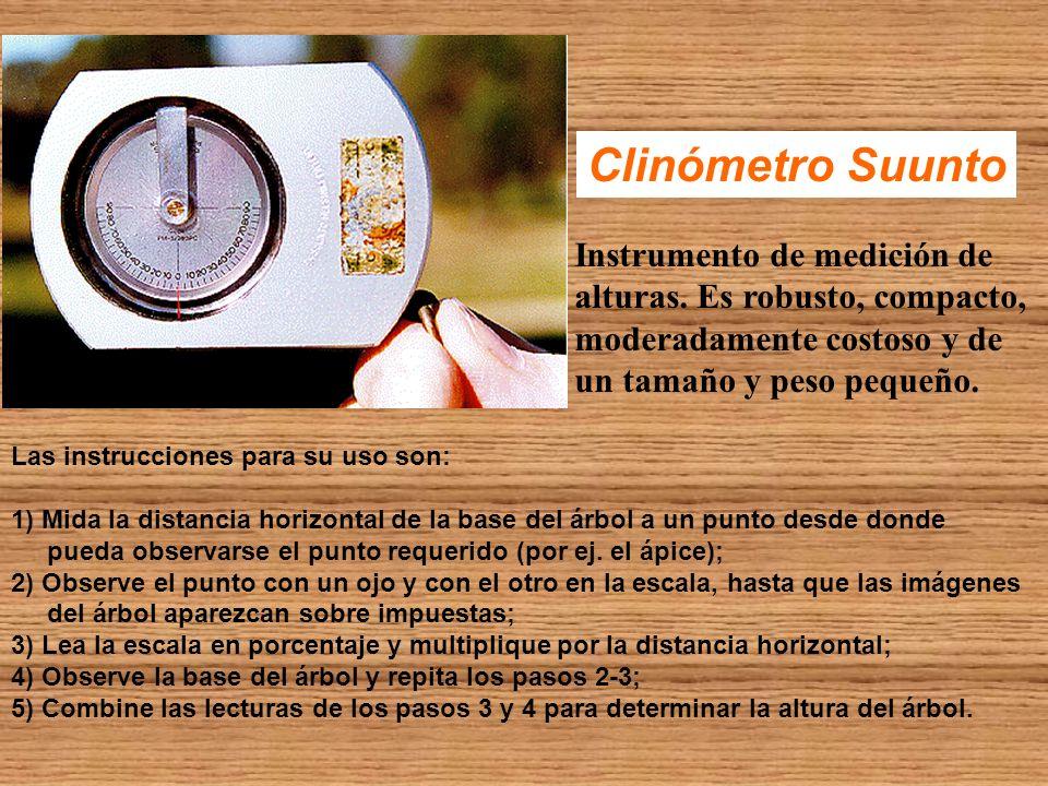 Clinómetro Suunto Instrumento de medición de alturas. Es robusto, compacto, moderadamente costoso y de un tamaño y peso pequeño. Las instrucciones par