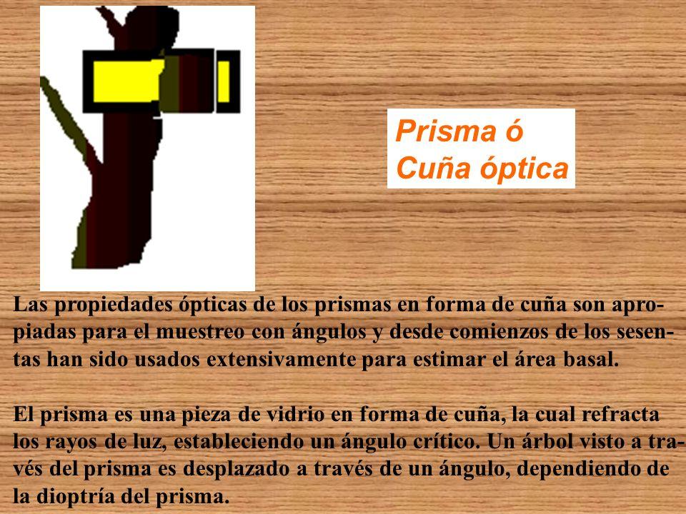 Prisma ó Cuña óptica Las propiedades ópticas de los prismas en forma de cuña son apro- piadas para el muestreo con ángulos y desde comienzos de los se