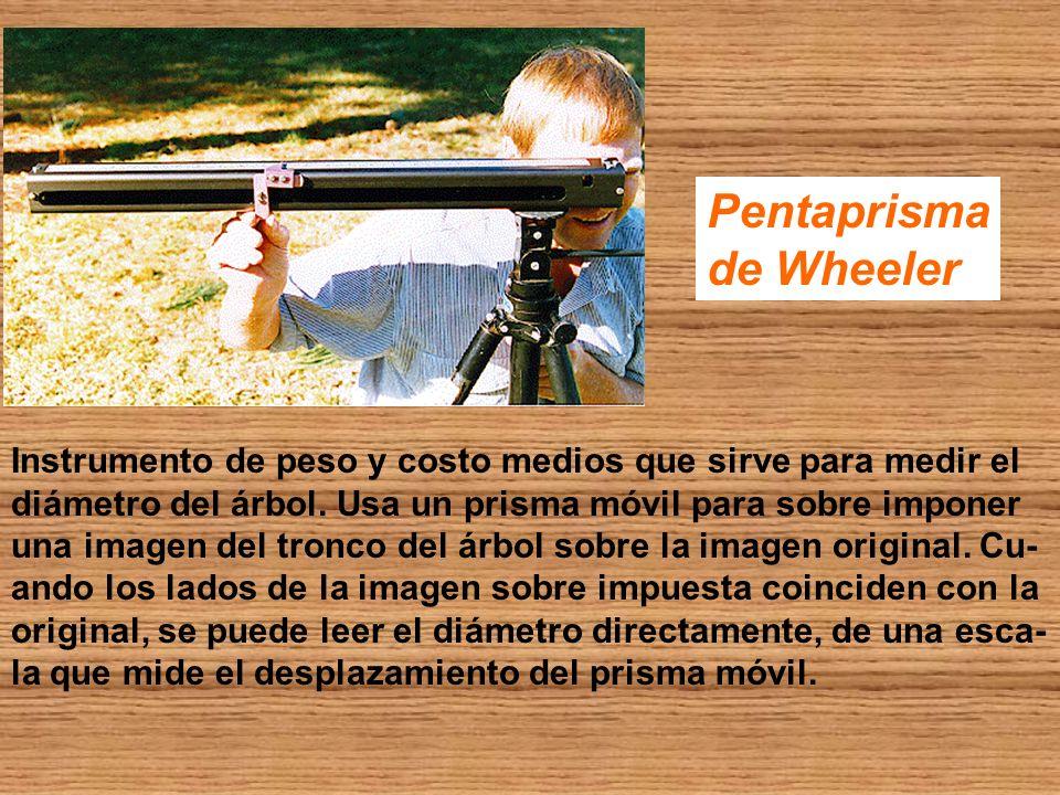 Pentaprisma de Wheeler Instrumento de peso y costo medios que sirve para medir el diámetro del árbol. Usa un prisma móvil para sobre imponer una image