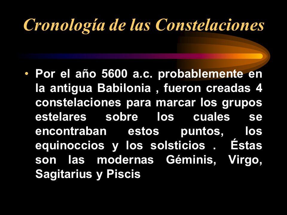 Por el año 5600 a.c. probablemente en la antigua Babilonia, fueron creadas 4 constelaciones para marcar los grupos estelares sobre los cuales se encon