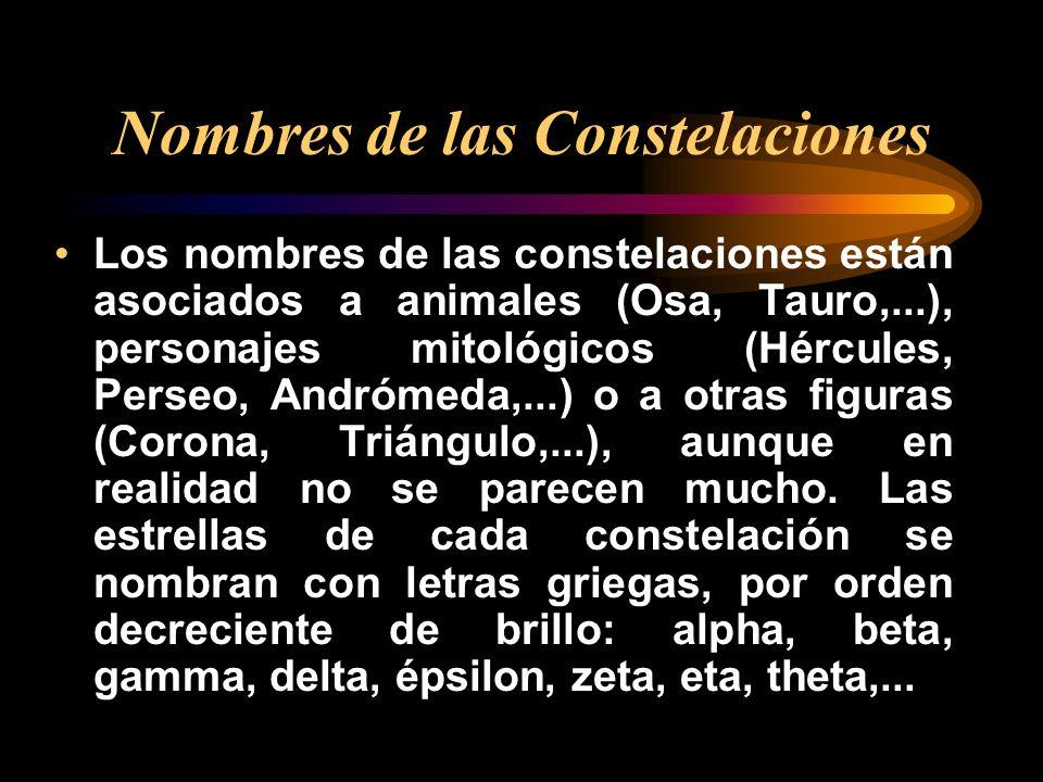 Nombres de las Constelaciones Los nombres de las constelaciones están asociados a animales (Osa, Tauro,...), personajes mitológicos (Hércules, Perseo,