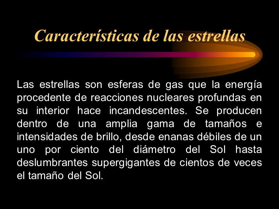 Las estrellas son esferas de gas que la energía procedente de reacciones nucleares profundas en su interior hace incandescentes. Se producen dentro de