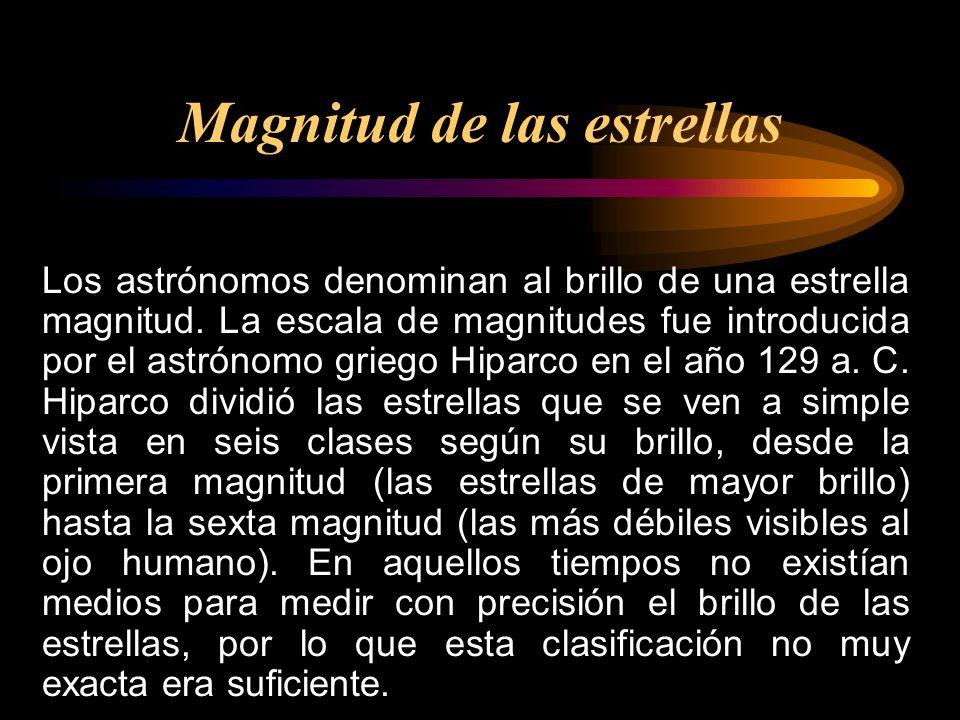 Los astrónomos denominan al brillo de una estrella magnitud. La escala de magnitudes fue introducida por el astrónomo griego Hiparco en el año 129 a.