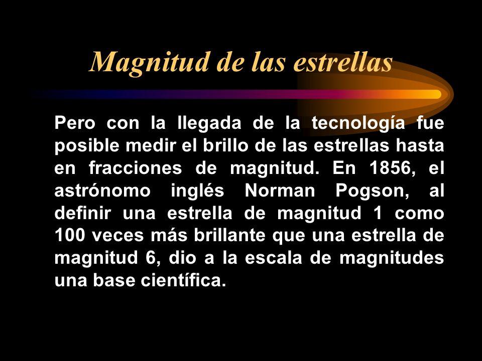 magnitud Cuando se utiliza sin otro calificativo, el término magnitud se refiere al brillo que la estrella presenta en el cielo; estrictamente debería denominarse magnitud aparente.