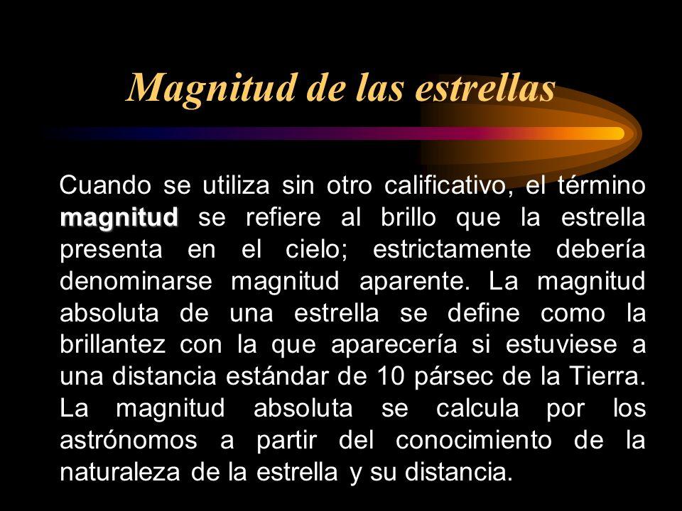 magnitud Cuando se utiliza sin otro calificativo, el término magnitud se refiere al brillo que la estrella presenta en el cielo; estrictamente debería