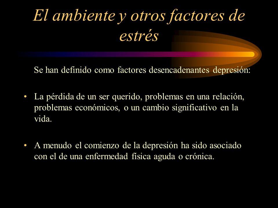 El ambiente y otros factores de estrés Se han definido como factores desencadenantes depresión: La pérdida de un ser querido, problemas en una relació