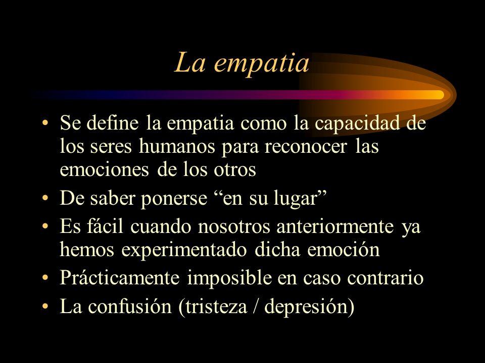 La empatia Se define la empatia como la capacidad de los seres humanos para reconocer las emociones de los otros De saber ponerse en su lugar Es fácil