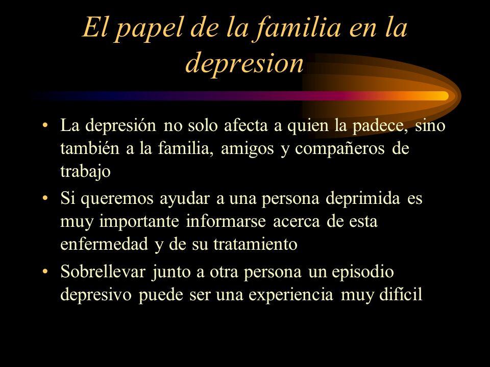 El papel de la familia en la depresion La depresión no solo afecta a quien la padece, sino también a la familia, amigos y compañeros de trabajo Si que