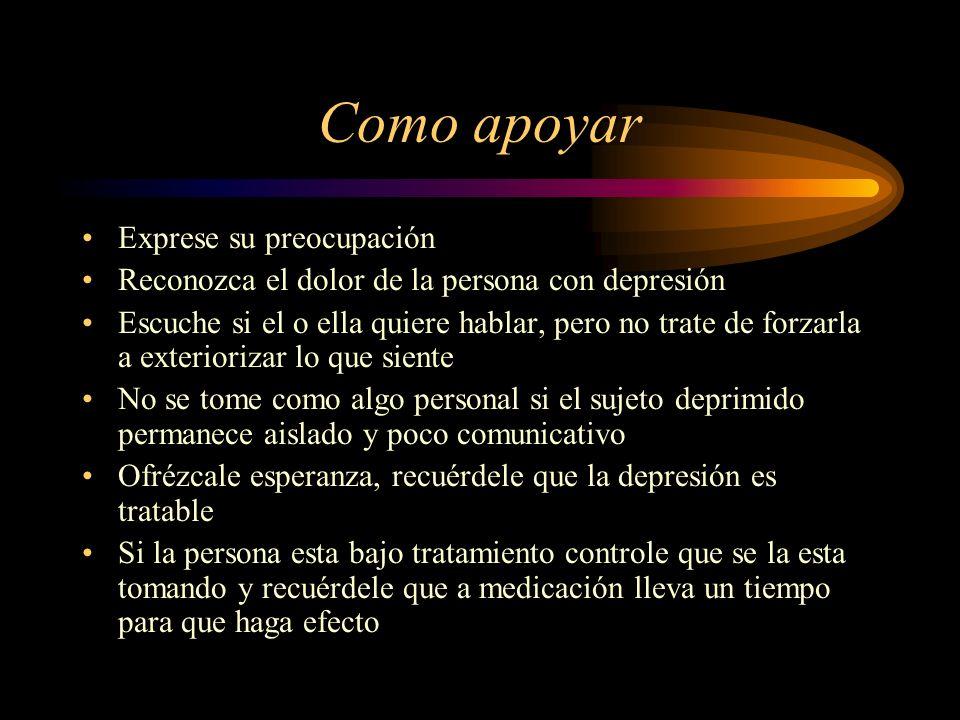 Como apoyar Exprese su preocupación Reconozca el dolor de la persona con depresión Escuche si el o ella quiere hablar, pero no trate de forzarla a ext