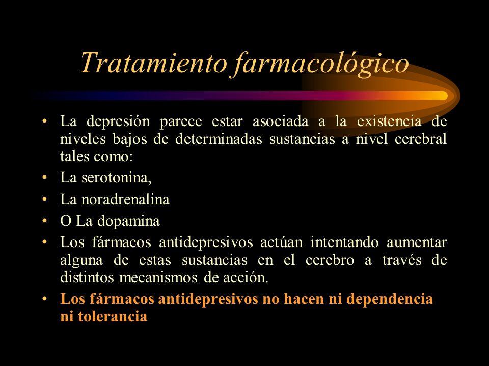 Tratamiento farmacológico La depresión parece estar asociada a la existencia de niveles bajos de determinadas sustancias a nivel cerebral tales como: