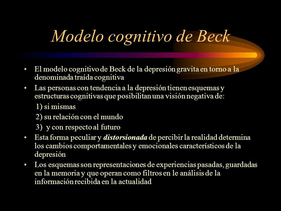 Modelo cognitivo de Beck El modelo cognitivo de Beck de la depresión gravita en torno a la denominada traída cognitiva Las personas con tendencia a la
