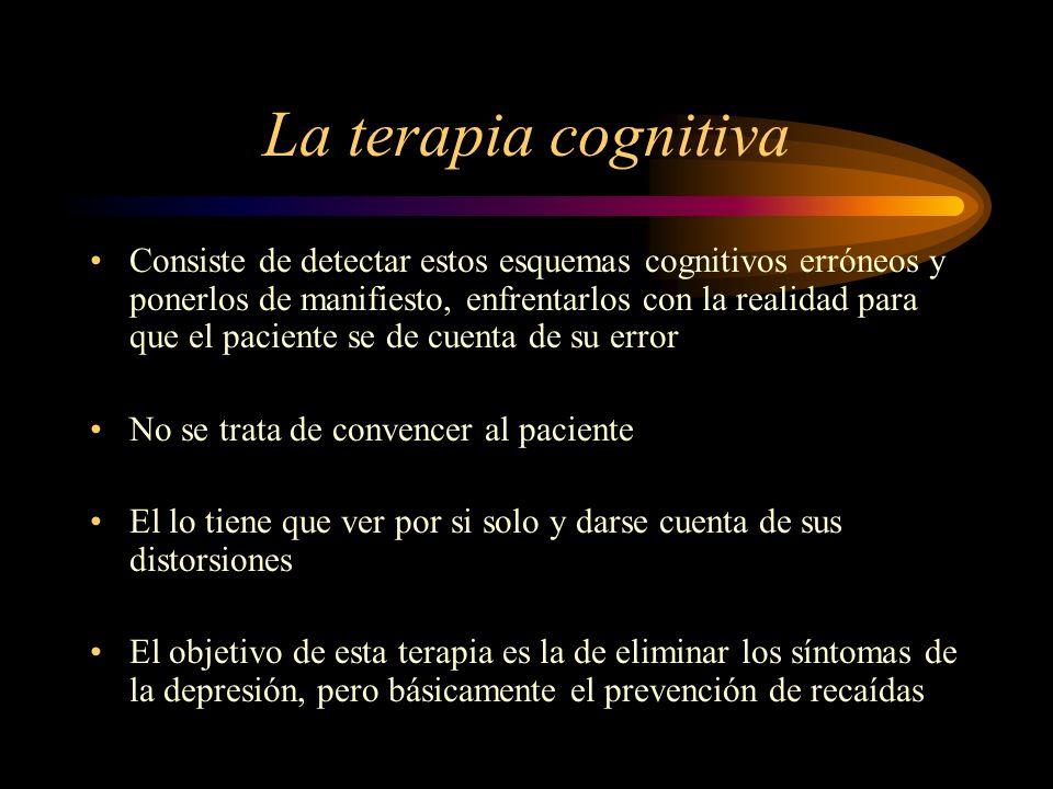 La terapia cognitiva Consiste de detectar estos esquemas cognitivos erróneos y ponerlos de manifiesto, enfrentarlos con la realidad para que el pacien