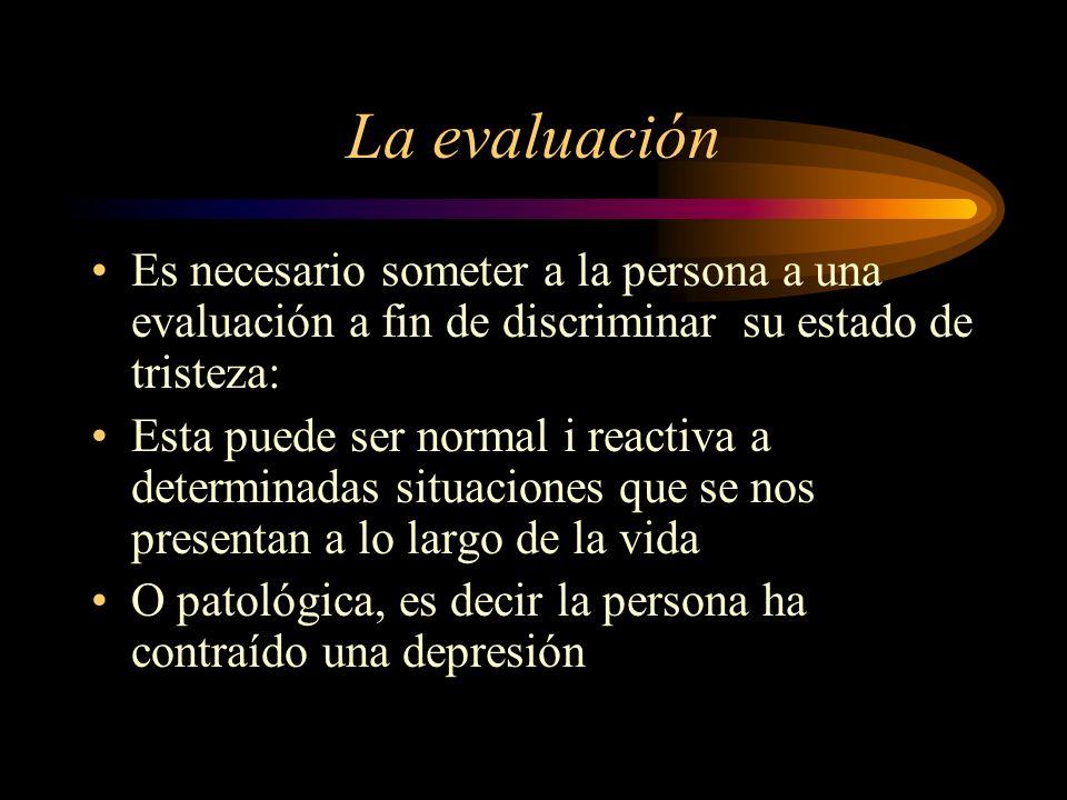 La evaluación Es necesario someter a la persona a una evaluación a fin de discriminar su estado de tristeza: Esta puede ser normal i reactiva a determ
