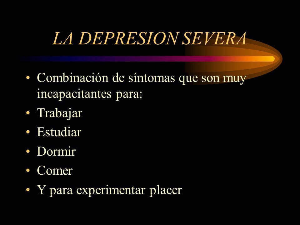Síntomas de la depresión Estado de ánimo triste, ansioso o vacío en forma persistente.