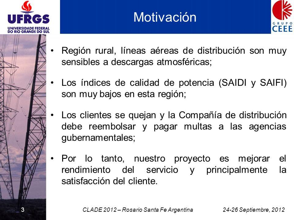3 Motivación Región rural, líneas aéreas de distribución son muy sensibles a descargas atmosféricas; Los índices de calidad de potencia (SAIDI y SAIFI