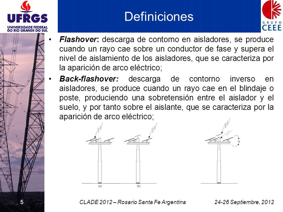 Definiciones Flashover: descarga de contorno en aisladores, se produce cuando un rayo cae sobre un conductor de fase y supera el nivel de aislamiento