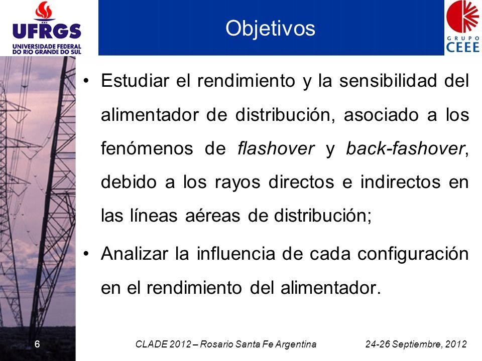 6 Objetivos Estudiar el rendimiento y la sensibilidad del alimentador de distribución, asociado a los fenómenos de flashover y back-fashover, debido a