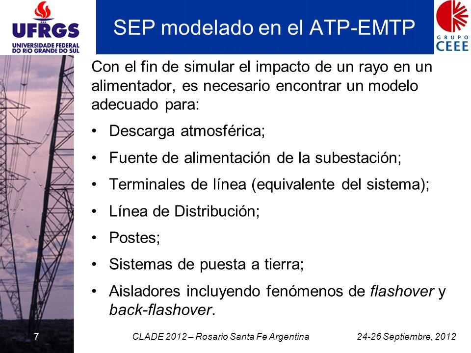 7 SEP modelado en el ATP-EMTP Con el fin de simular el impacto de un rayo en un alimentador, es necesario encontrar un modelo adecuado para: Descarga