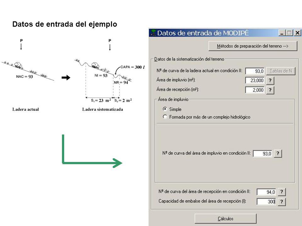 Datos de entrada del ejemplo