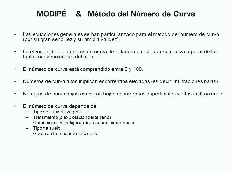 Las ecuaciones generales se han particularizado para el método del número de curva (por su gran sencillez y su amplia validez). La elección de los núm