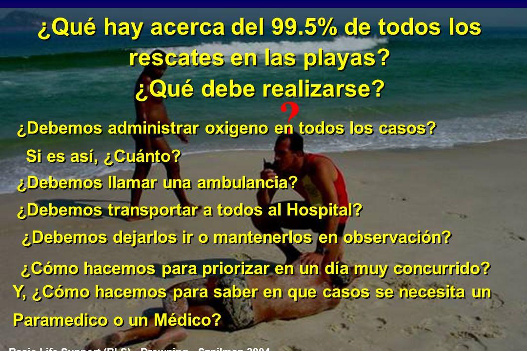 ESTABLECIDO PARA TODOS LOS GUARDAVIDAS Estos casos componen el 0.5% de todos los rescates realizados por guardavidas en las playas Paro Respiratorio =