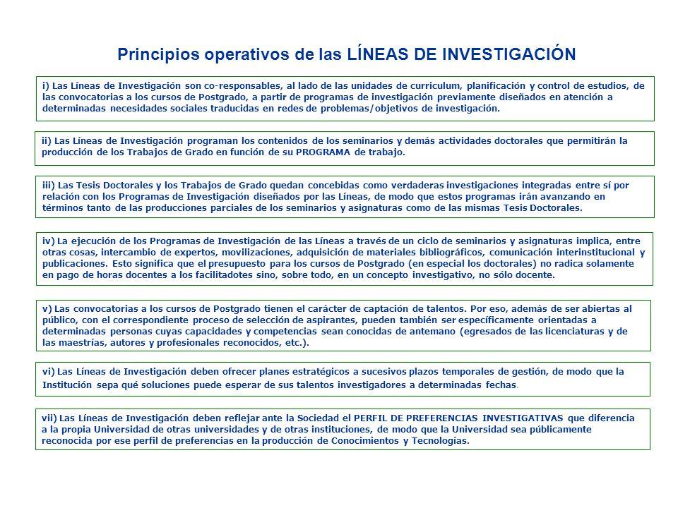 i) Las Líneas de Investigación son co-responsables, al lado de las unidades de curriculum, planificación y control de estudios, de las convocatorias a
