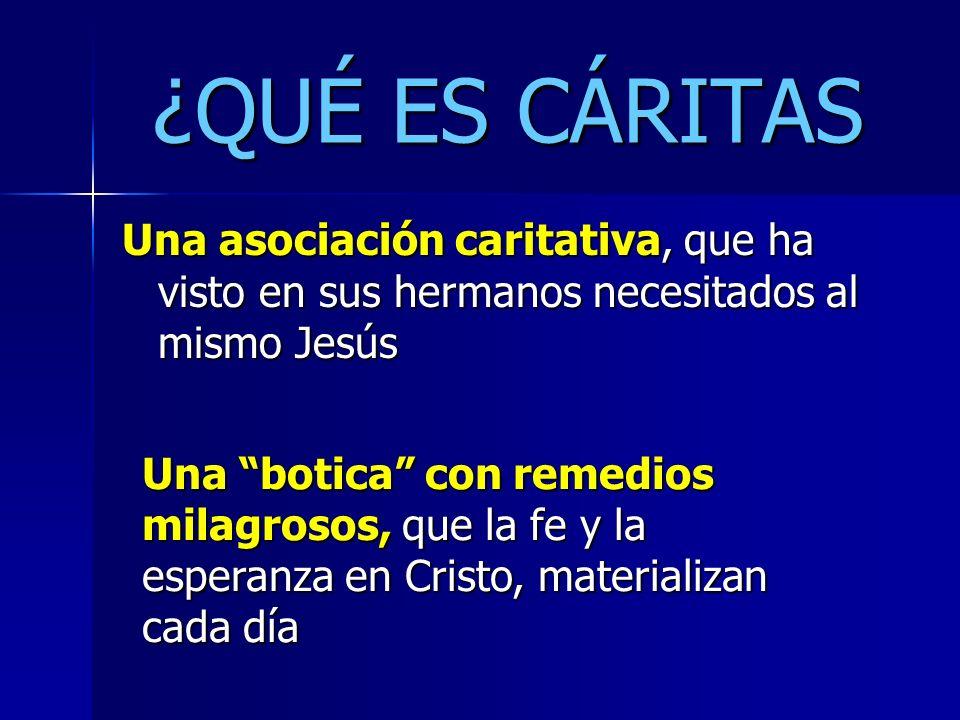 ¿QUÉ ES CÁRITAS Una asociación caritativa, que ha visto en sus hermanos necesitados al mismo Jesús Una botica con remedios milagrosos, que la fe y la