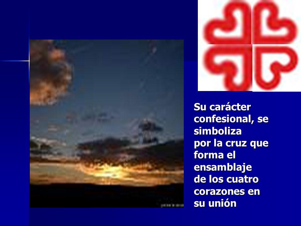 Su carácter confesional, se simboliza por la cruz que forma el ensamblaje de los cuatro corazones en su unión
