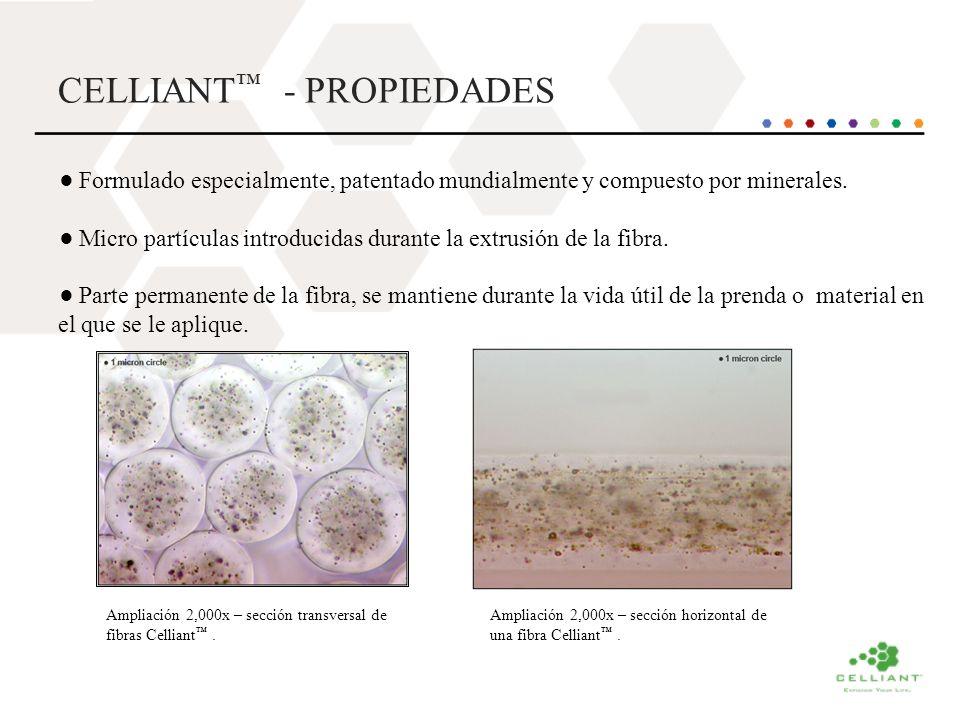 CELLIANT - PROPIEDADES Formulado especialmente, patentado mundialmente y compuesto por minerales. Micro partículas introducidas durante la extrusión d