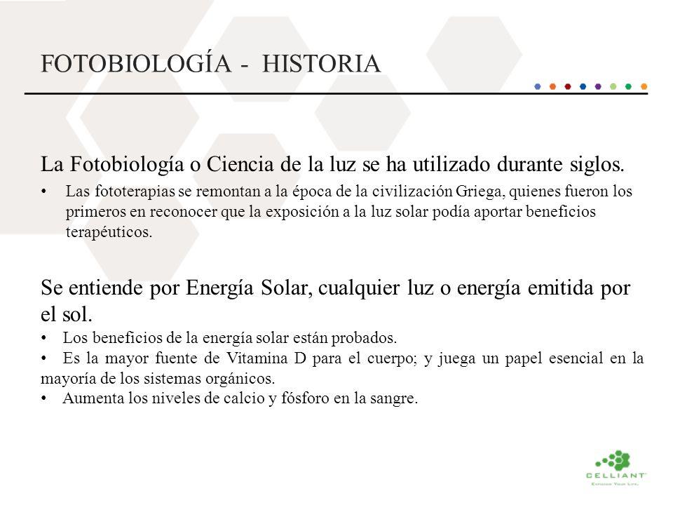 FOTOBIOLOGÍA - HISTORIA La Fotobiología o Ciencia de la luz se ha utilizado durante siglos. Las fototerapias se remontan a la época de la civilización