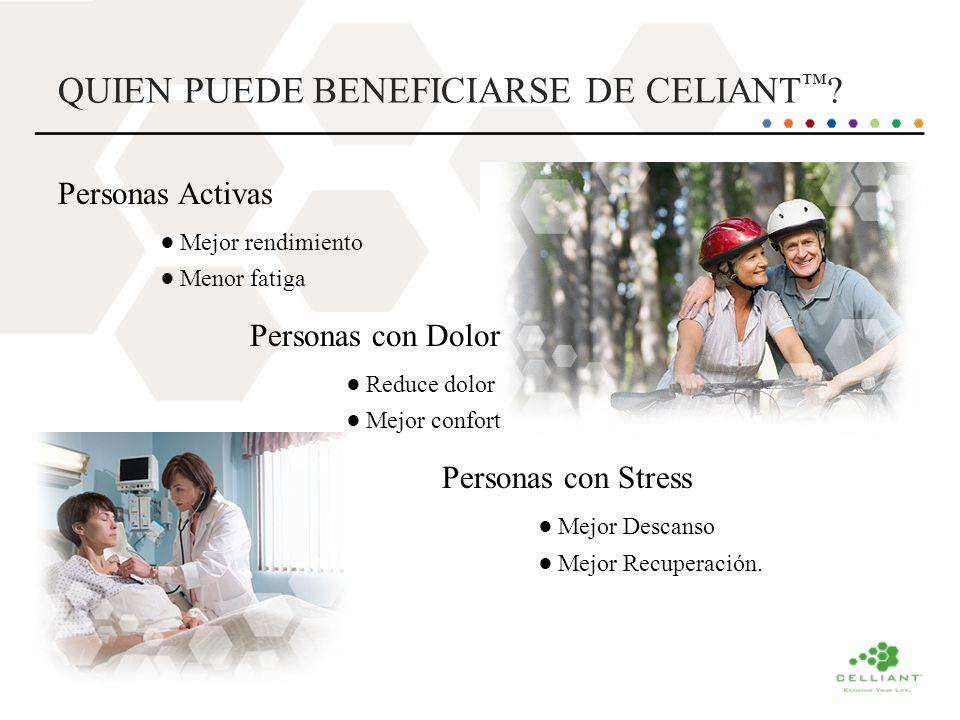 QUIEN PUEDE BENEFICIARSE DE CELIANT ? Personas Activas Mejor rendimiento Menor fatiga Personas con Dolor Reduce dolor Mejor confort Personas con Stres
