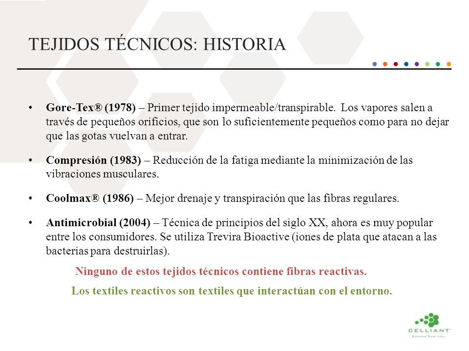 TEJIDOS TÉCNICOS: HISTORIA Gore-Tex® (1978) – Primer tejido impermeable/transpirable. Los vapores salen a través de pequeños orificios, que son lo suf