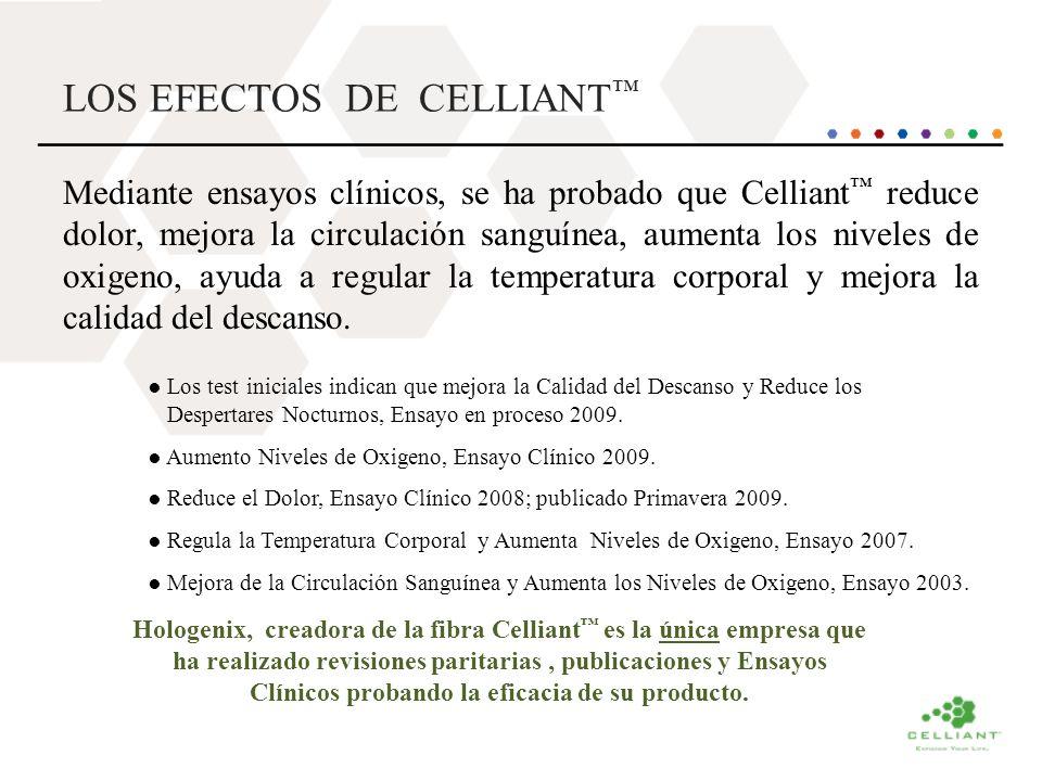 LOS EFECTOS DE CELLIANT Mediante ensayos clínicos, se ha probado que Celliant reduce dolor, mejora la circulación sanguínea, aumenta los niveles de ox