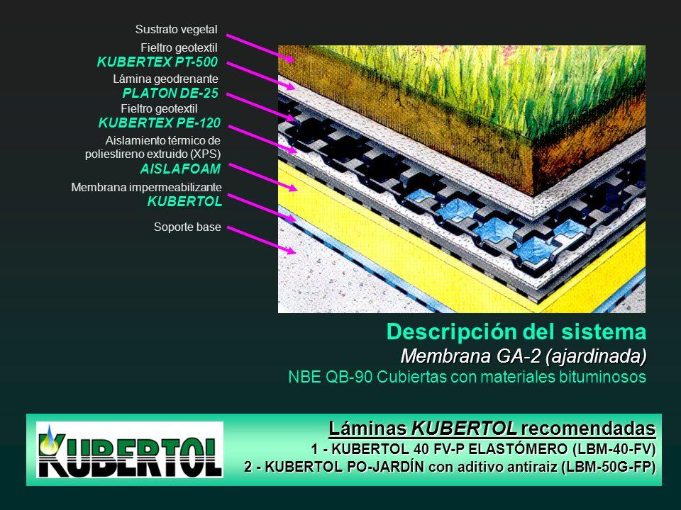 Sustrato vegetal Lámina geodrenante PLATON DE-25 Aislamiento térmico de poliestireno extruido (XPS) AISLAFOAM Soporte base Fieltro geotextil KUBERTEX