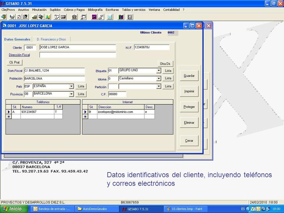 Datos identificativos del cliente, incluyendo teléfonos y correos electrónicos
